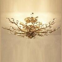 Estilo americano luz de teto cristal do vintage lâmpada teto ac110v 220 v conduziu a luz cristal casa deco