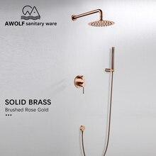 """Set de ducha de baño grifo mezclador de baño de ducha de latón macizo, oro rosa cepillado, simplicidad, 3 uds., 8 """", AH3022"""
