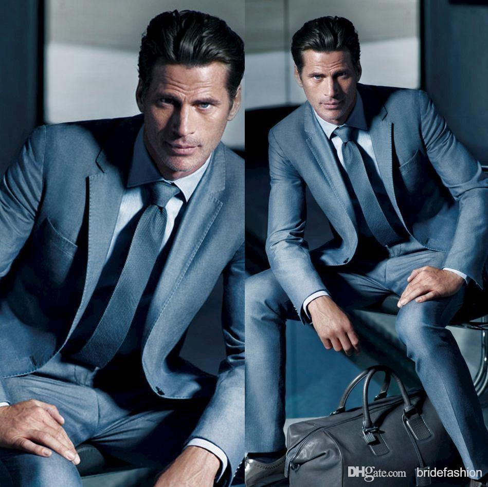 Blue Grey Mens Suit Dress Yy