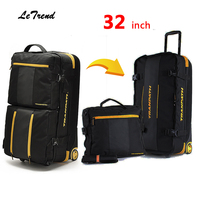 Letrend New Fashion 32 inch High capacity Rolling Luggage Set Business Travel Bag Checked luggage Trolley Men Trunk Suitcase