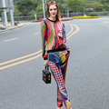 2017 Spring Runway Set Women's High Quality Fashion Long Sleeve Geometric Print T Shirt and Pants Suit Set Plus Size Casual Set
