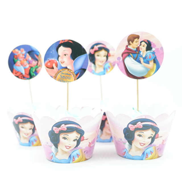 24pcs/lot Snow White Princess Paper Cupcake Wrappers Toppers For Kids Party Birthday Decoration Cake Cups(12 wraps+12 topper)