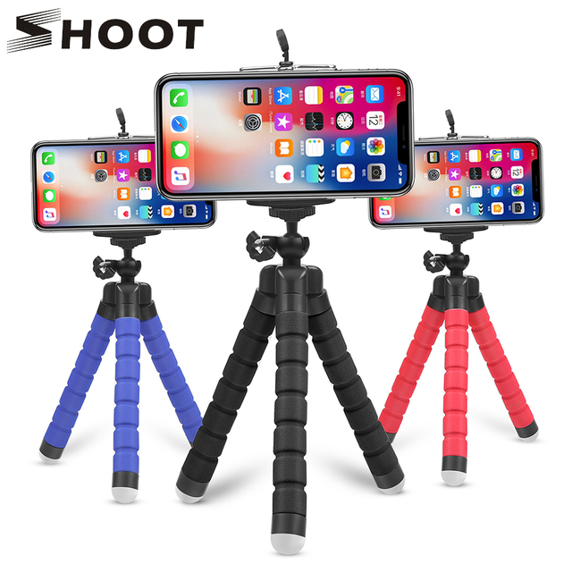 SHOOT ขาตั้งกล้อง Octopus แบบยืดหยุ่นสำหรับ GoPro 8 7 5 สีดำ Xiaomi Yi 4K SJCAM DSLR โทรศัพท์ผู้ถือแท็บเล็ตขาตั้ง Mount สำหรับสมาร์ทโฟน