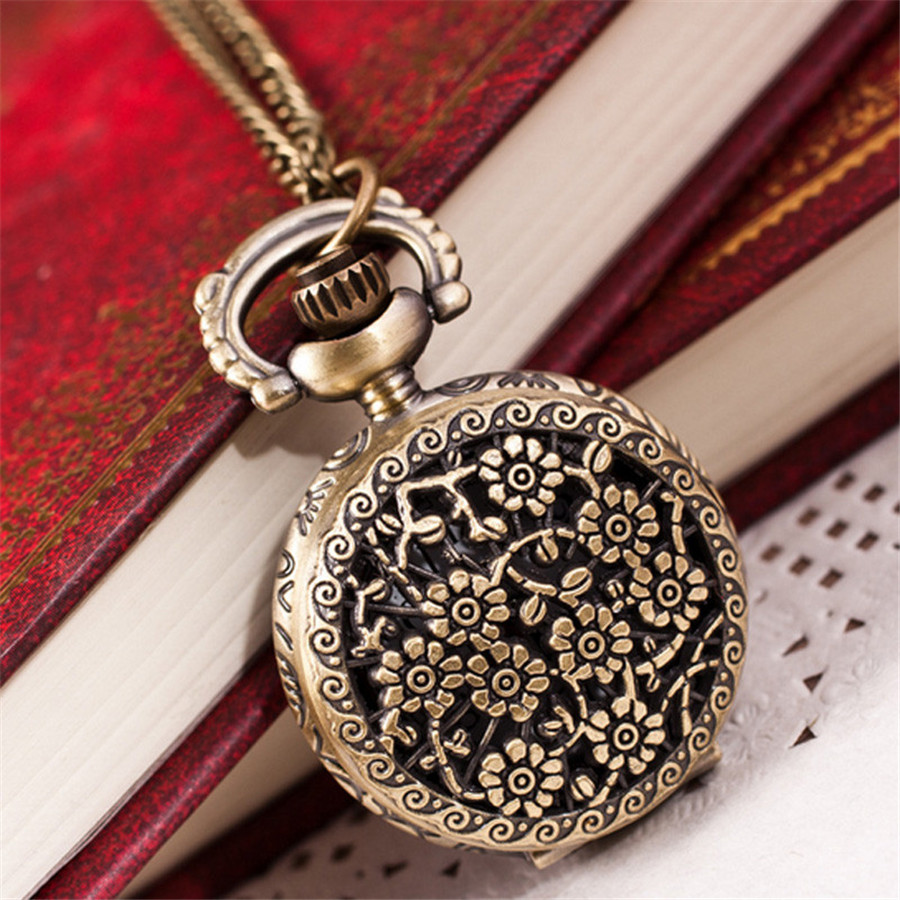 Vintage retro bronze pocket watch men women vogue analog quartz vintage retro bronze pocket watch men women vogue analog quartz pendant watch chain necklace watches flowercrown hour clock in pocket fob watches from aloadofball Choice Image