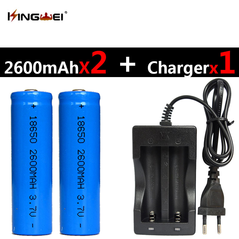KingWei 2Pcs 18650 Rechargeable Li ion 2600mah Battery one NK 809 Universal Double Battery Charger for