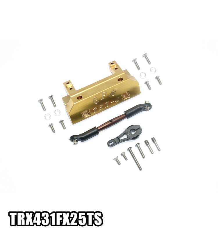 1PC TRAXXAS TRX4 Front Servo Mount Copper Counterweight Servo Fixed Bracket+25T Servo Arm+Pull Rod for Rock Crawler RC Cars freeship 2x 25t servo arm belt pulley servo belt sheave for continuous rotation dsservo servo mg995 mg996 futaba robot diy
