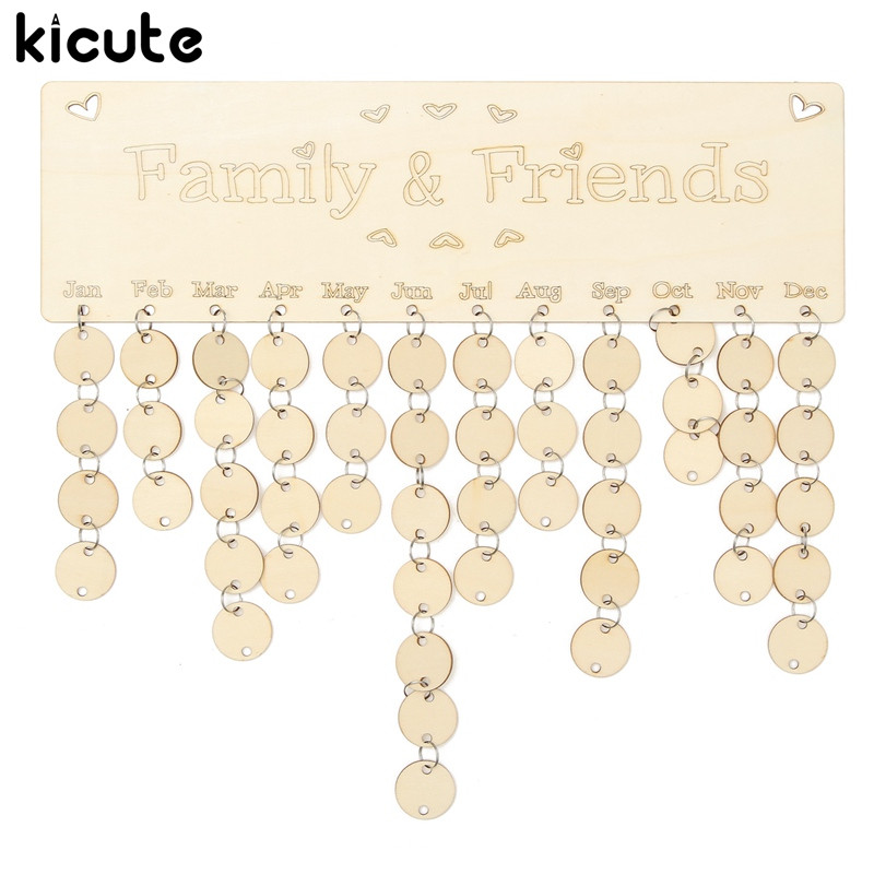 Kicute DIY Wooden Birthday Calendar Board Family Friends Birthday Calendar Sign Special Dates Planner Board Hanging
