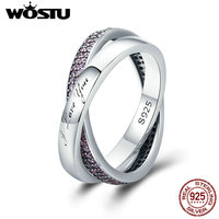 WOSTU Hot Sale Real 925 Sterling Silver Sweet Promise Ring Pink CZ Female Finger Ring For