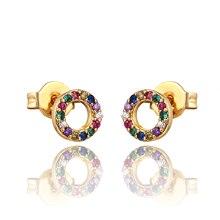 QITIS Trendy Round Shape Evil Eye Earrings Multicolor AAA CZ Austrian Crystal Stud Ear Studs for Women Girls Jewelry