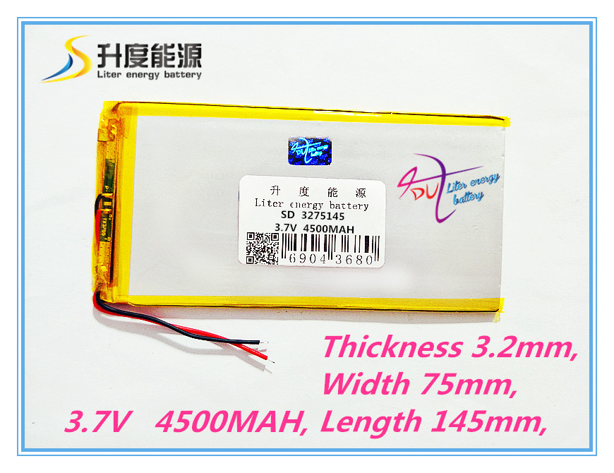Tablet battery 3275145 3.7V 4500MAH A thin polymeric product Battery Tablet PC digital audio batteries battery Navigator cube u30gt mini tablet battery plate 3563125 battery