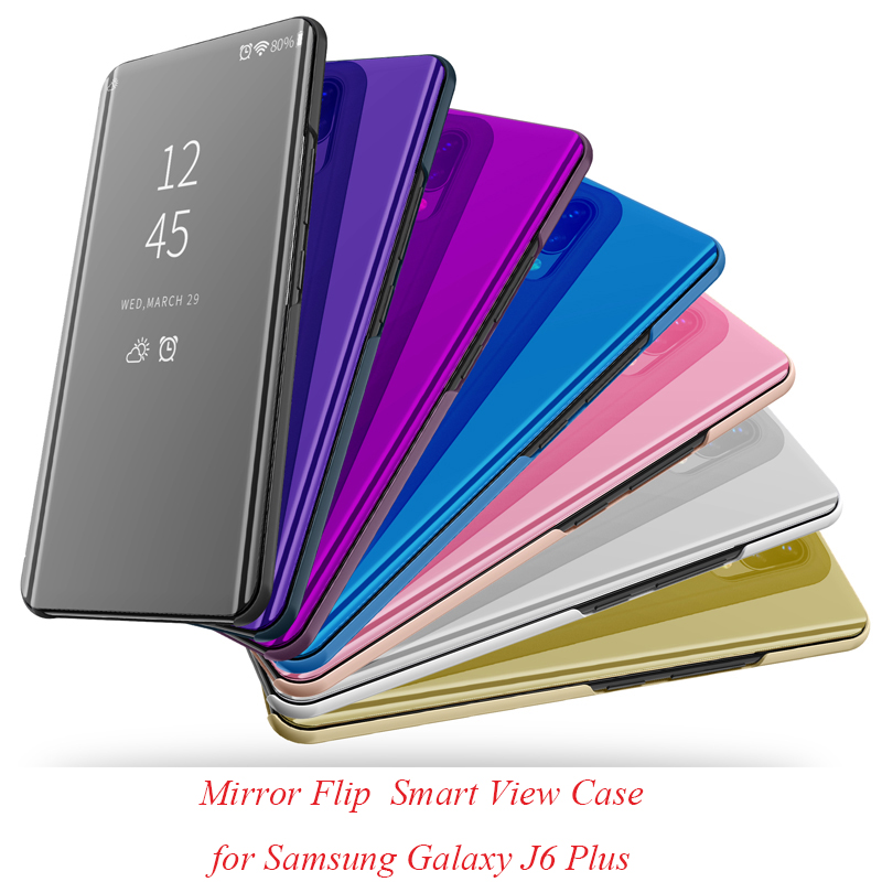 J6+ Mirror Flip Case For Samsung Galaxy J6 Plus Luxury Clear View PU Leather Cover For Samsung Galaxy J6 Plus Smart phone Case