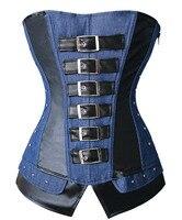 Sexy Gothic Steampunk Overbust Corset Faux Leather và Denim Jean Bustiers Top zipper side Cộng Với Kích Thước S-2XL