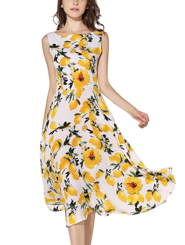 À Noir blanc Partie Robes Printemps Été Lemon Bateau Swing De Élégant Sans Femmes Sur Mesure Jardin Manches Encolure Imprimé UnwqTRXSpx