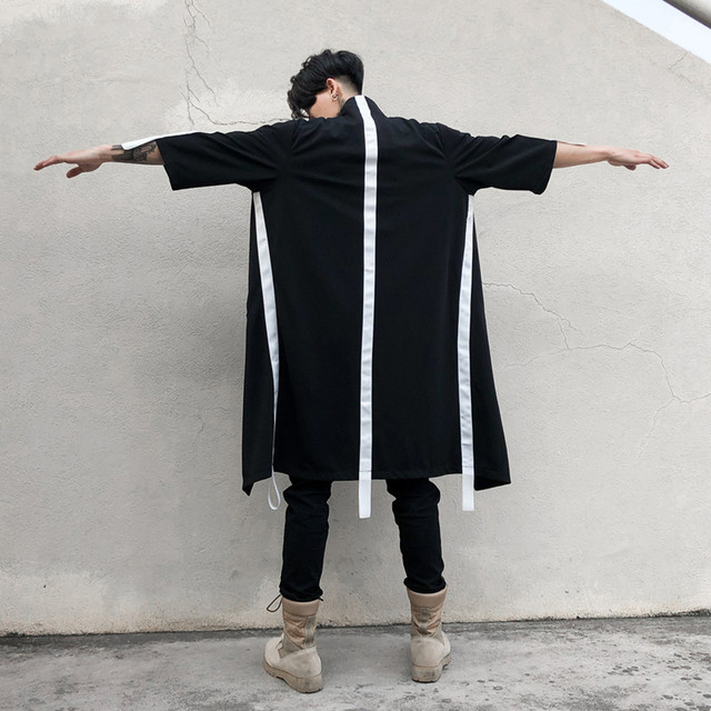 Spring summer men personality long trench coat thin cloak nightclub singer stage costume mens hip hop punk streetwear oversized