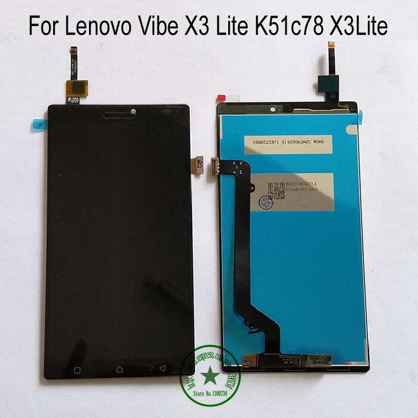 ФОТО Black 100% Warranty Working LCD Display+Touch Screen Digitizer Assembly For Lenovo Vibe X3 Lite K51c78 X3Lite Phone Replacement