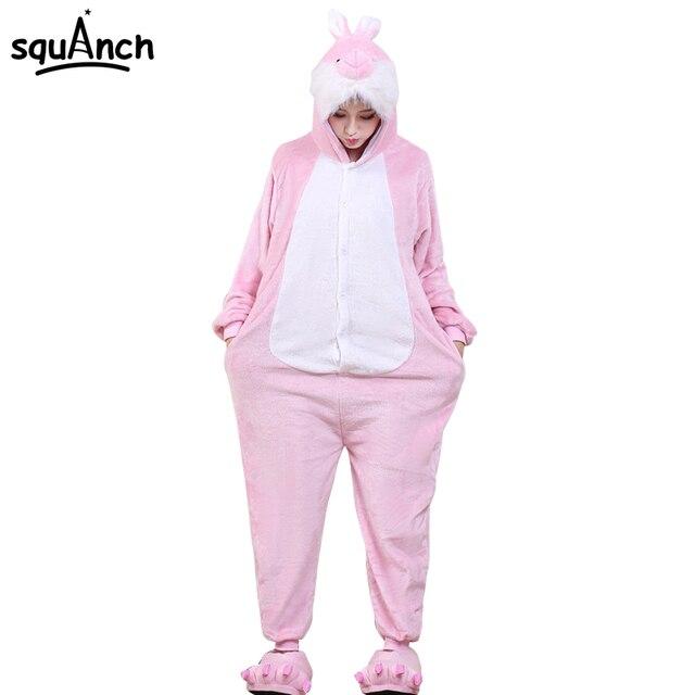 ccd2e4ce65fa кигуруми Для женщин Животные Onesie розовый кролик мультфильм пижамы  Комбинезоны для девочек взрослых Прекрасный партии ночной
