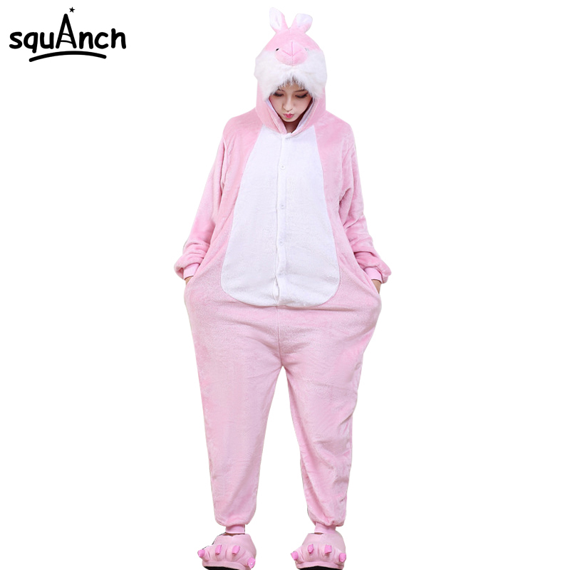 Women Animals Onesie Pink Rabbit Cartoon Pajamas Overalls Adults Lovely Party Night Sleep Wear Suit Winter Warm Flannel Onepiece ...