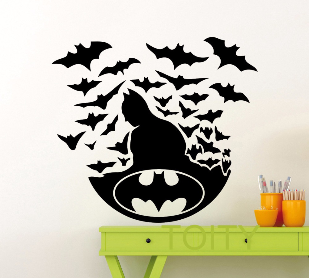 Buy batman poster black wall art sticker for Dark knight mural