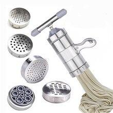 Ручная машина для приготовления макаронных изделий из нержавеющей стали, машина для приготовления макаронных изделий, пресс-машина для спагетти, бытовой пресс-машина с 5 пресс-форма