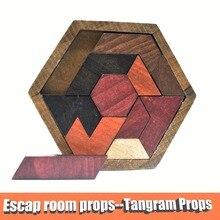Escape zimmer requisiten Tangram Requisiten (11 stücke holz) Escape Zimmer Die Spiel zu Controller 60KG EM Schloss