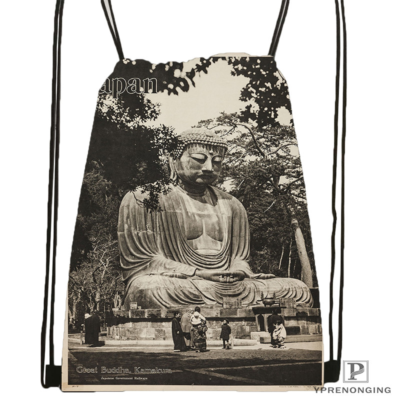 Custom Gautama-buddha  Drawstring Backpack Bag Cute Daypack Kids Satchel (Black Back) 31x40cm#20180611-02-77