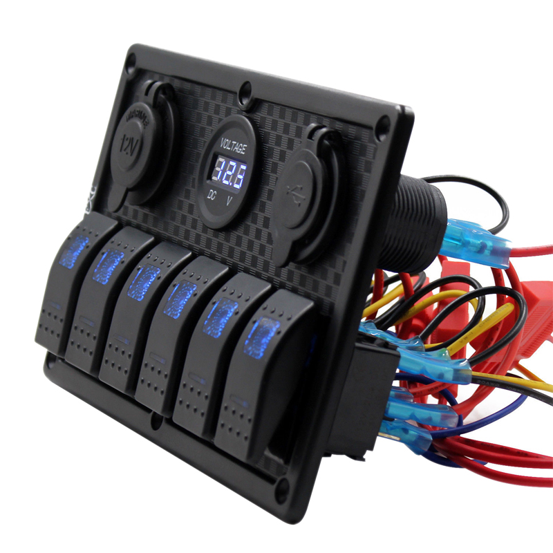 Image 3 - 12V 24V Waterproof 6 Gang Blue LED Rocker Switch Panel Toggle Circuit Breaker Dual USB Toggle Control Switch RV Car Boat Marine-in Car Switches & Relays from Automobiles & Motorcycles