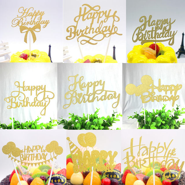 Online Shop Creative Happy Birthday Cake Flags Gold Black Cake