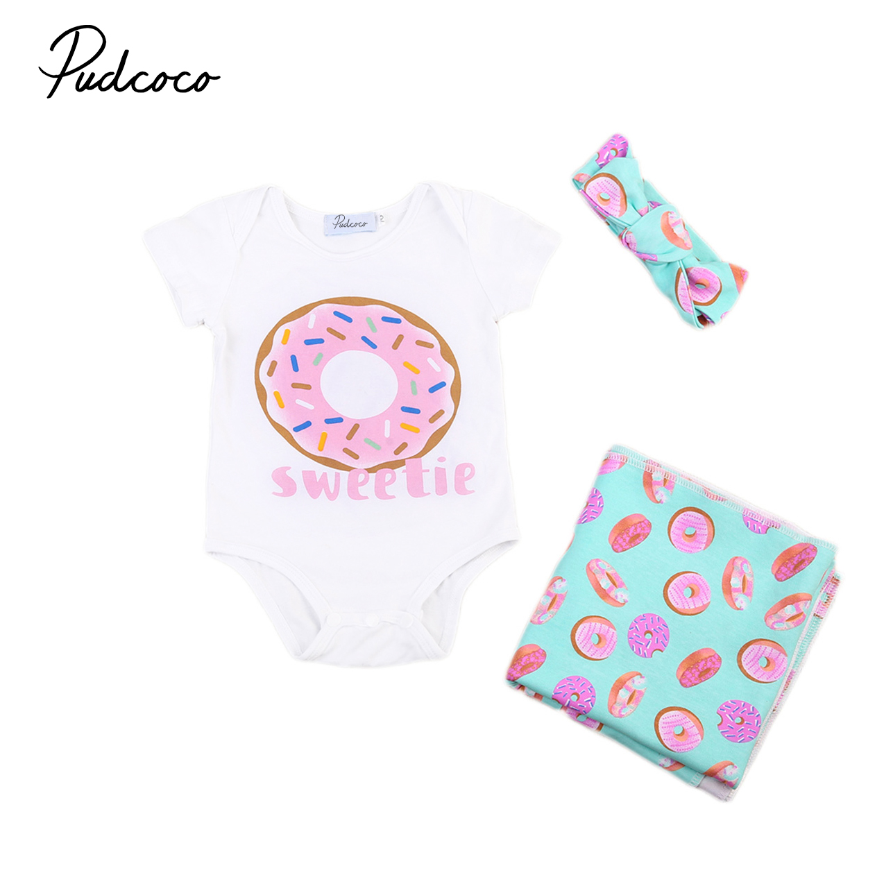 Newborn Infant Outfits Cute Baby Outfits Set Newborn Infant Baby Boys Girls Print Swaddle Blankets Rompers Headband 3pcs Outfits Clothes Sets Summer In Clothing Sets From