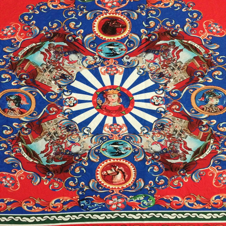 80X145cm Fashion Week Located General and Horse Printed Blue Red Jacquard Fabric for Woman Gril Autumn Winter Tank Dresses-AF170