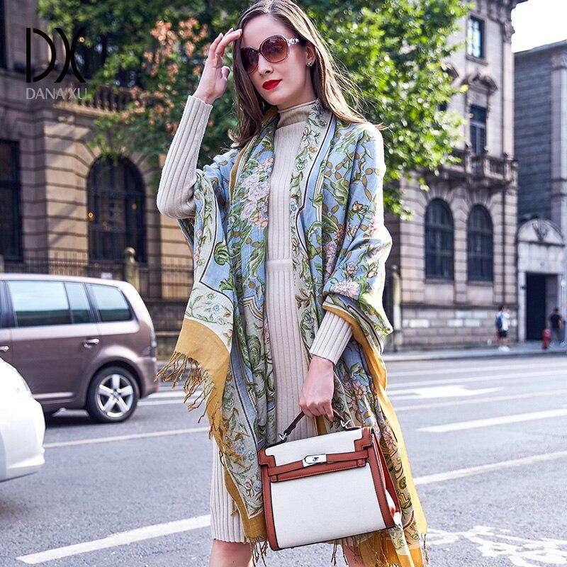 100% bufandas de cabeza cuadrada de lana para mujer elegante señora Carf y chal cálido largo estampado Animal Stoles Bandana bufanda Hijab playa manta - 2