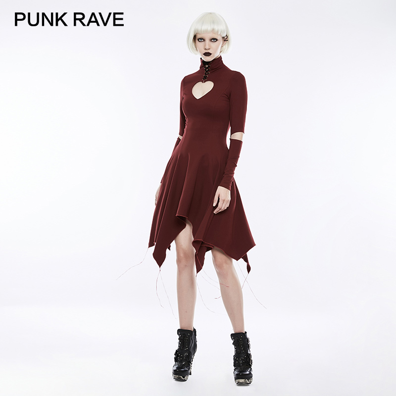PUNK RAVE 2018 Gothic Heart Shape Breast Hollow Out Asymmetry Hem Laced Dress Bandage High Collar Long Sleeve Women Dresses