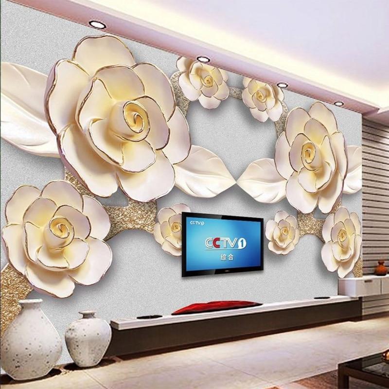 Modern Simple 3D Embossed Flowers Photo Mural Wallpaper Living Room Hotel Luxury Home Decor Wallpaper Papel De Parede Floral 3D