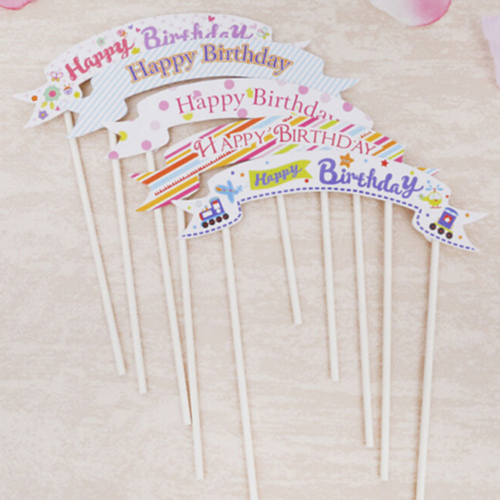 Happy Birthday Banner Flag Cupcake Cake Topper Flags Baby Shower Child Party Supplies Baking Decorative