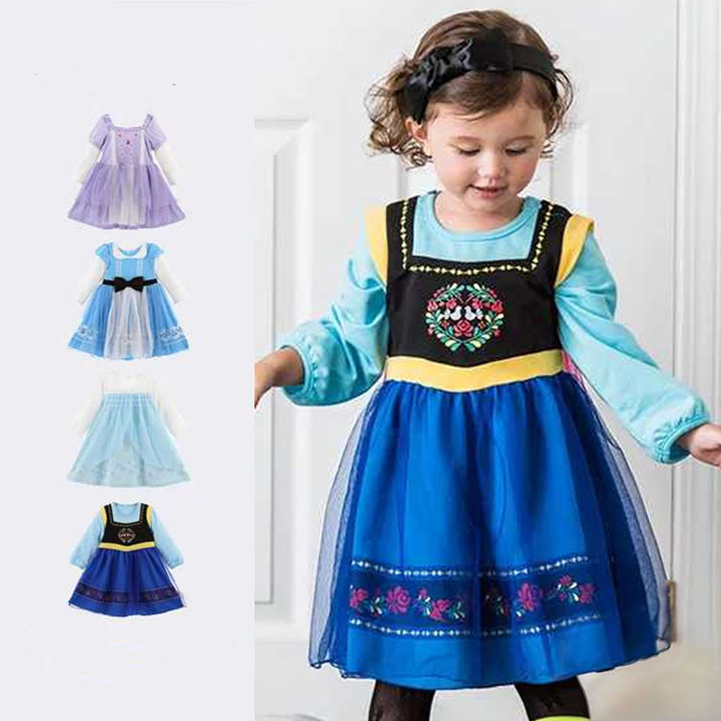 Halloween Cartoon Girls Cosplay Dress Princess Birthday Party Anna Dress Kids Baby Party Wedding Halloween Dresses Long Sleeve music note party swing dress