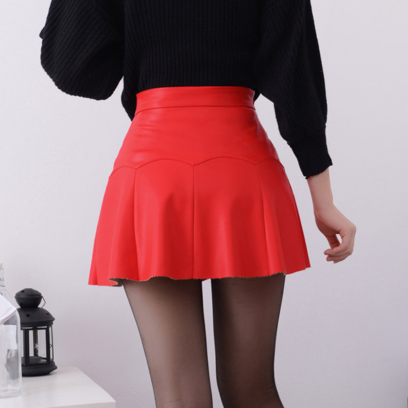 9c7d41f4b Aliexpress.com : Buy New 2019 Russia Fashion Black Red high quality leather  Skirt Women Vintage High Waist Pleated Skirt Female Short Skirts from  Reliable ...