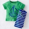 Envío gratis muchachos del verano ropa de la historieta establece niños ropa de niño ropa conjunto camiseta + cortocircuitos de la raya 2 unids YAZ052F