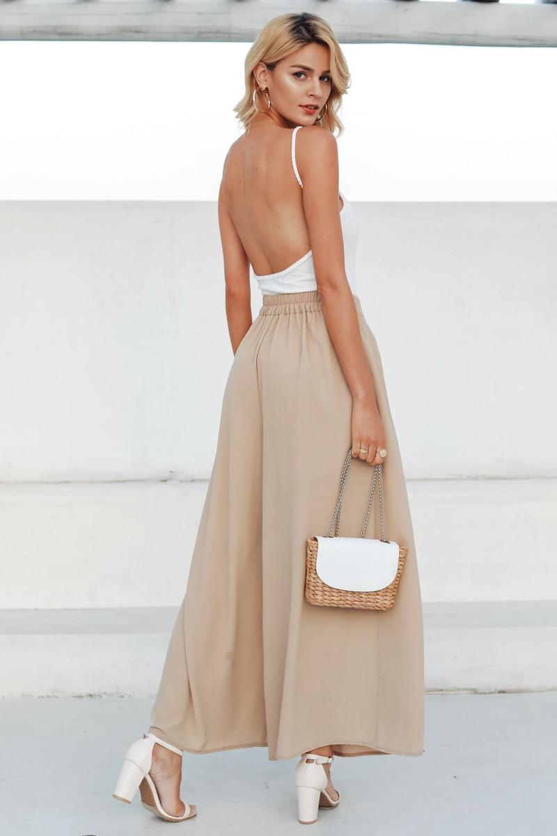 Simplee Elegant women summer pants Wide leg elastic high waist split trousers Casual streetwear fashion female palazzo pants 4