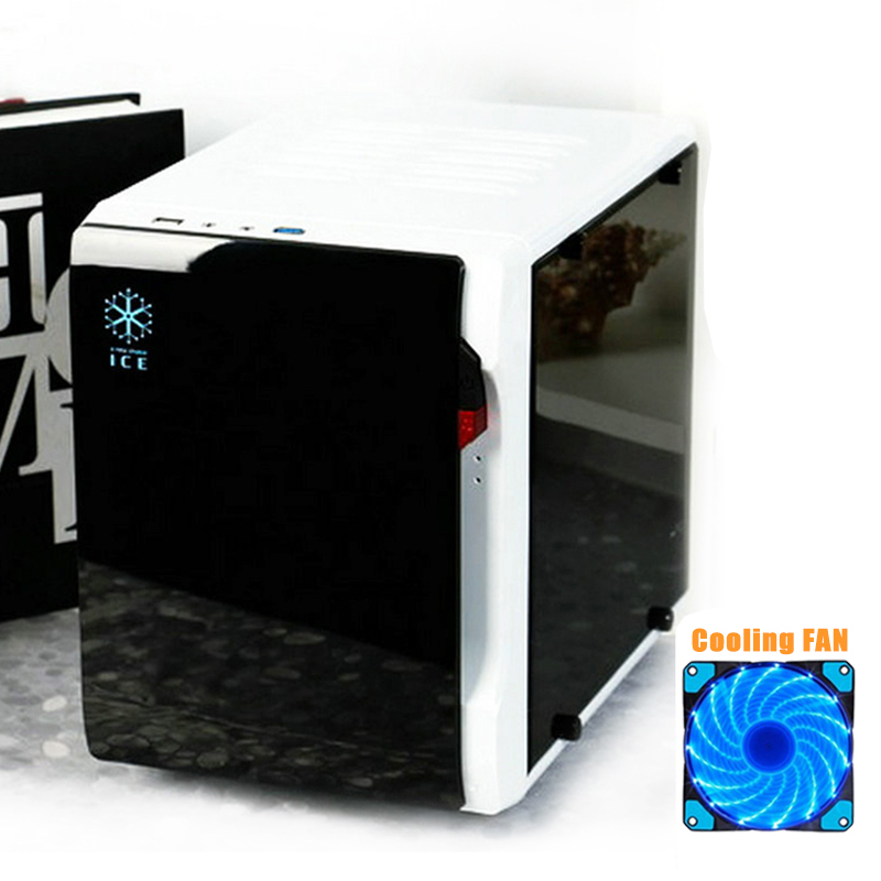 DIY Desktop Computer Case Chassis Transparent Side Mini PC Case Support Full Size Video Card HTPC Case
