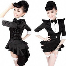 6 EXTRA LARGE Fashion Star Costume Female Singer DS Costume Dance Jazz Black White Color Block Formal Dress Tuxedo Costumes