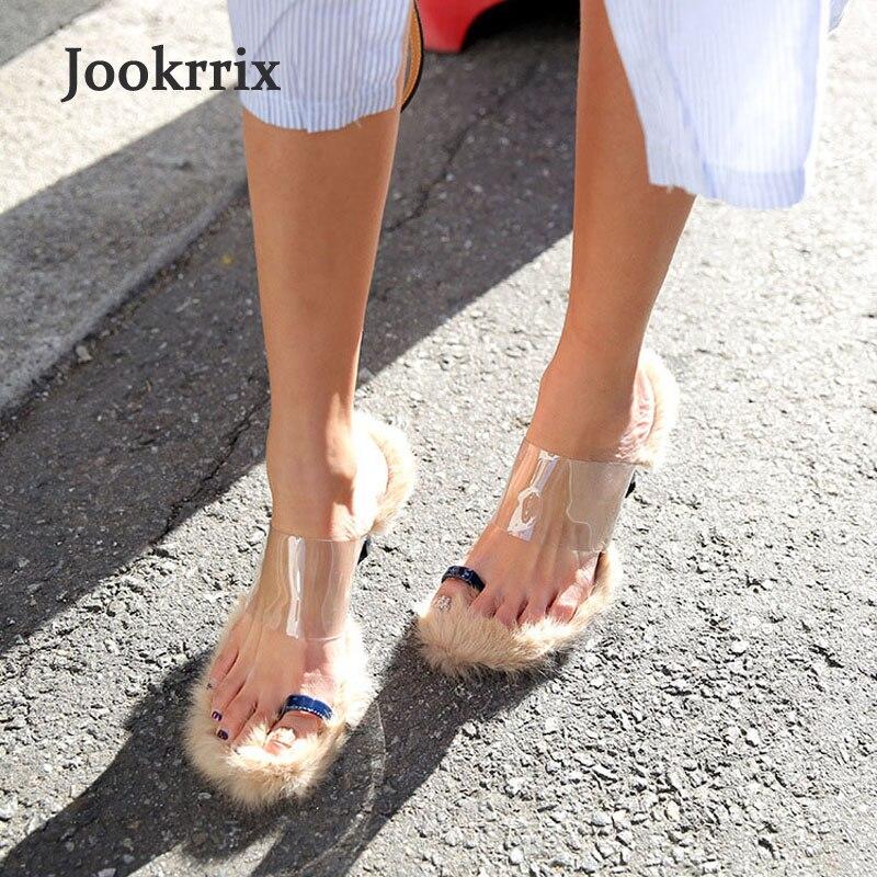 Jookrrix 2018 Spring Summer Girl Sandal Fashion Brand Faux Fur Thin Heels Shoe Lady Shoes Women Shoes Peep Toe Plush Transparent
