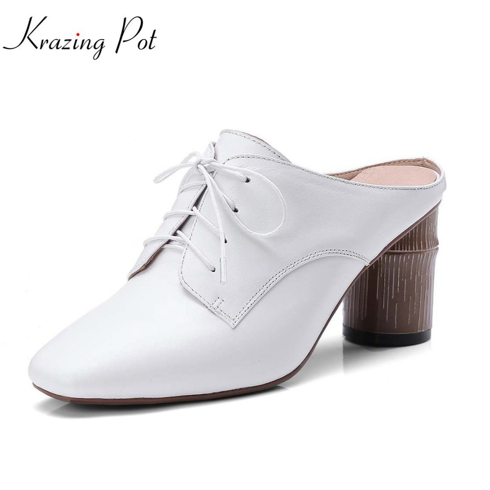 krazing Pot cow leather mature mules office lady summer slingbacks shoes pointed toe high heels slip on younger women pumps L2f2 xiaying smile new summer women sandals high square heels pumps fashion platform shoes casual lady mature style slip on shoes