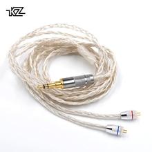 Плотным верхним ворсом KZ официальный 2Pin Плетеный покрытием серебряный кабель для KZ BA10 ZS10 ZST ZS5 ZS6 AS10 СЖД ZSA ED16