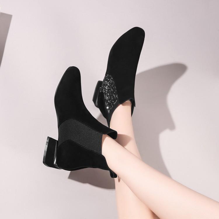 Botas Bottes Sur Chaussures Cristal Pour D'hiver Carré Bout Marque Cuir Femmes Glissement Les Chunky Chaussons Dames Talon Bling Noir En Chelsea Chic 1qBnTX