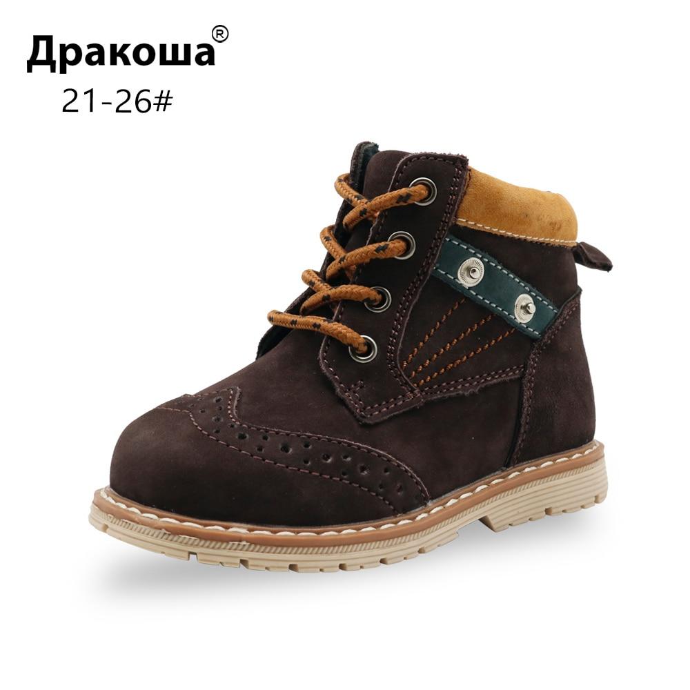 Diskret Apakowa Kleinkind Jungen Klassische Echtes Leder Martin Stiefel Kinder Platz Ferse Stiefeletten Für Kleine Jungen Herbst Frühling Schuhe