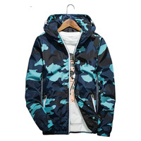 Spring Autumn Men Camouflage Zipper North Face Hoodie Baseball Coat Casual Thin Big Size Stitching Jacket