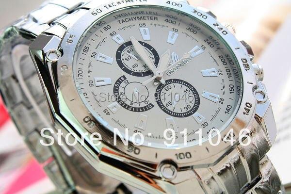 Орландо Фирменная Новинка серебро Нержавеющая сталь часы Металл кварцевые наручные часы, с ума продать платье часы, 50 шт./лот, 5 цветов доступны