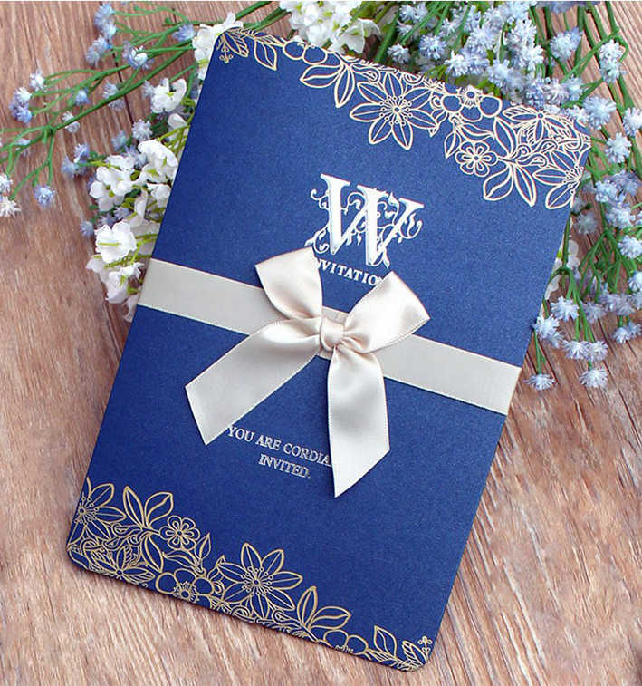 High Quality Wedding Invitation Card With Ribbon 130*190mm, Pearly Paper, Amazing Design