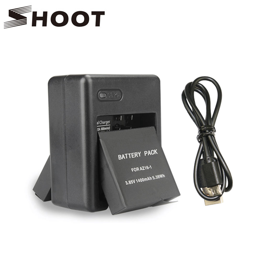 SHOOT Dual Port Battery Charger for Xiaomi Yi Lite Yi 4K 4K+ Sports Cam International Edition Accessories for Yi Action Camera for xiaomi yi 4k 4k yi lite 1400mah 2 pcs battery xiao yi 2 dual battery charger for sport yi 4k action camera accessories