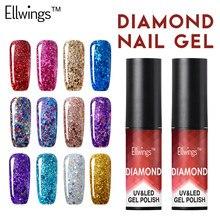Ellwings Professional Diamond Glitter UV Nail Polish Nail Art Manicure UV Nail Gel Varnish Soak Off Sequins Gel Lacquer