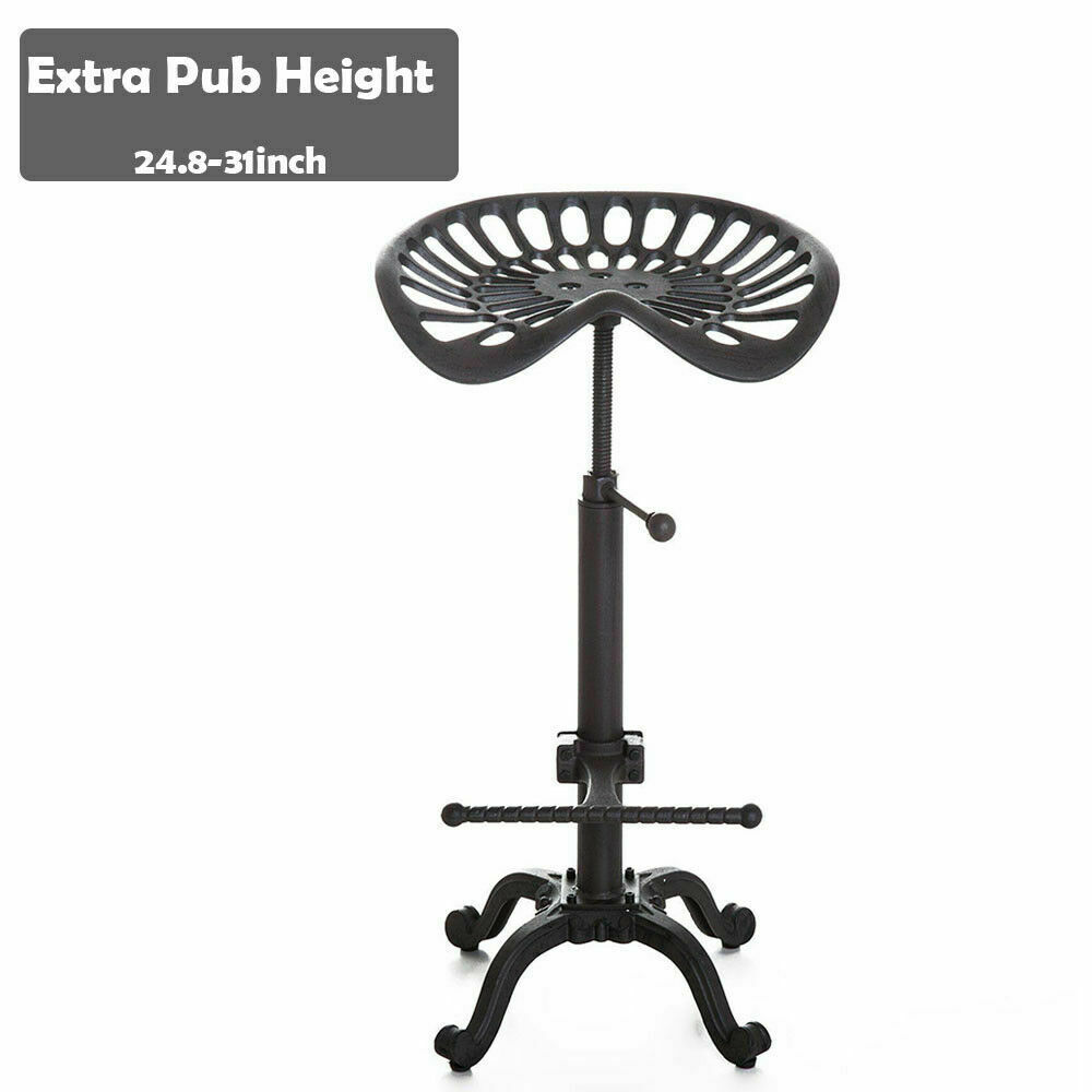 Kitchen Chair Metal Powder-Coat Farmhouse Tractor Seat Stool Rustic Bar Stools Swivel Tractor Seat Chair Extra Tall Pub